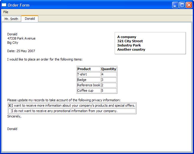 Sample order form
