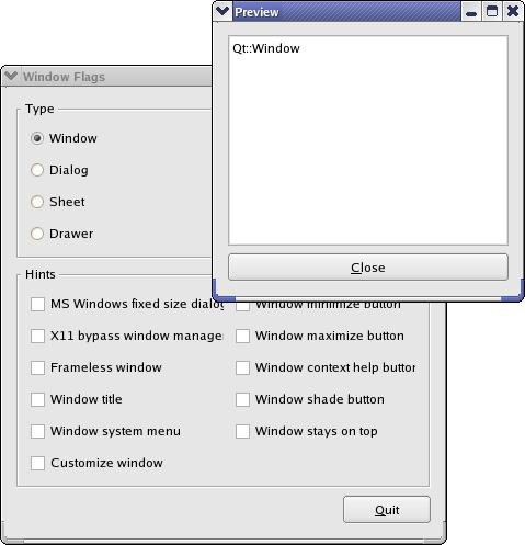 Qt 4 5: Пример Window Flags | Документация