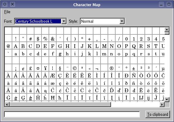 Qt 47 Character Map